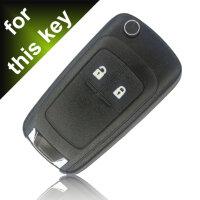 Schlüssel Hülle passend für OPEL Schlüssel Cover Typ-J Leder schwarz rot