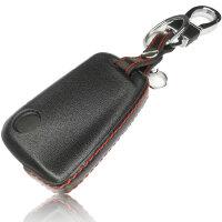 Schlüssel Hülle passend für VW Skoda SEAT Schlüssel Cover Typ-G7 Leder schwarz rot 4D