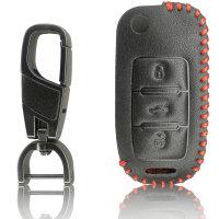 Schlüssel Hülle passend für VW Skoda SEAT Schlüssel Cover Typ-G6 Leder schwarz rot