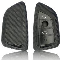 Schlüssel Hülle passend für BMW Schlüssel Cover Typ-B20 Silikon Carbon schwarz