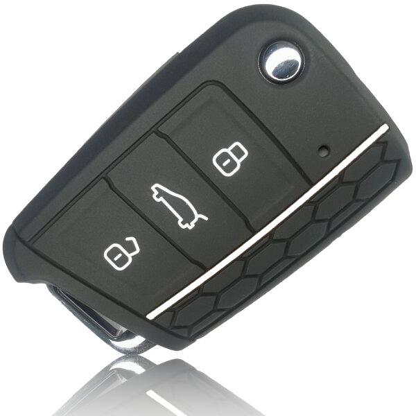 Schlüssel Hülle passend für VW Skoda SEAT Schlüssel Cover Typ-G7 Silikon schwarz/weiß