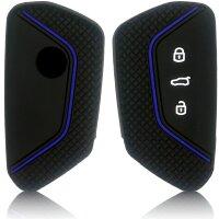 Schlüssel Hülle passend für VW Skoda SEAT Schlüssel Cover Typ-G8 Silikon schwarz/blau