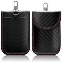 Autoschlüssel Keyless Go Schutz RFID Funk Schlüssel Blocker Tasche Etui Hülle Carbon schwarz-rot